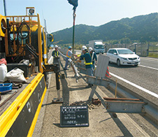 Photograph of accident recovery (guardrail)