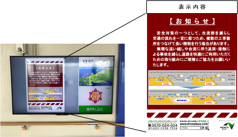Image image of display contents of notification by digital signage