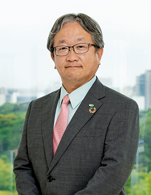 Photograph of Masafumi Mori, Representative Director and Senior Managing Executive Officer, General Manager of Construction Business Division