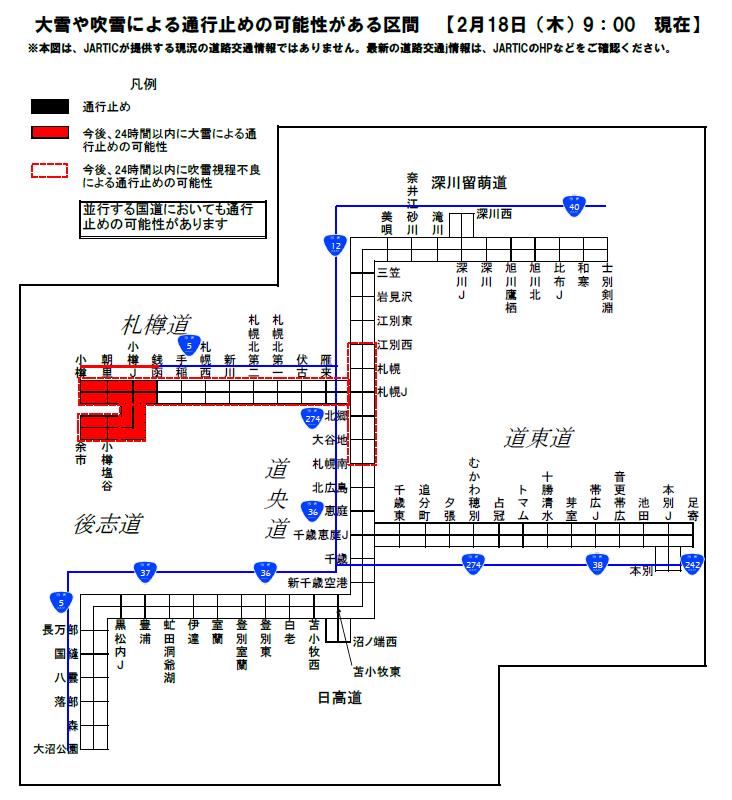 高速 道路 北海道 通行止め 日本道路交通情報センター:JARTIC